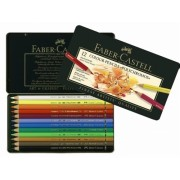 Creioane colorate Polychromos Cutie Metal 12 culori/set Faber-Castell