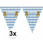 Merkloos 3x Vlaggenlijnen Oktoberfest van 5 meter
