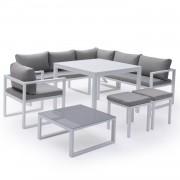Happy Garden Salon de jardin modulable IBIZA en tissu gris 7 places - aluminum blanc