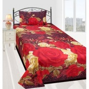 craftwell red and golden flowers (purple base) 3d single bedsheet with 1 pillow cover