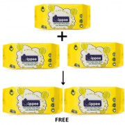 Wippee 80N Usable Baby Wipes With Almond Oil Buy 3 get 2 Free ( Pack of 5 )