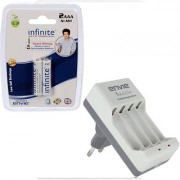 Envie Bettle ECR-20 Combo With 2xAAA 800 Ni-MH rechargeable Camera Battery Charger (White)