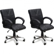 DZYN Furnitures Leatherette Office Executive Chair (Black Set of 2)