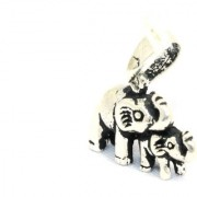 Handmade 925 Sterling Silver Unisex Charm Pendant Wild Animal Elephants figure