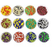 eshoppee 240 gm Glass Beads / Seed Beads Double Two Tone Color, Size 3mm (8/0) for jewelery Making Set of 12 Colours, 20Gm X 12 Art and Craft DIY kit (Double Tone Colors)