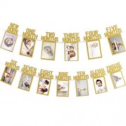 Ziory 1pc First Birthday Banner 12 Months Photo Bunting Baby Shower Party Decorations for 1st Birthday Baby Photo Banner for Newborn to 12 months, Monthly Milestone Photograph Bunting Garland, First Birthday Celebration Decoration (Gold), , party decor, p