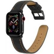 Apple Watch 40MM / 38MM Bandje Echt Leer met Crackle Textuur Zwart