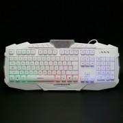 M-500 USB 2.0 con cable 114-Key Teclado para juegos w / retroiluminado - Blanco + Negro