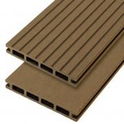 C-Wood Vlonderplank composiet 2,1 x 14 cm teak bruin (5 mtr) grove ribbel en vlak