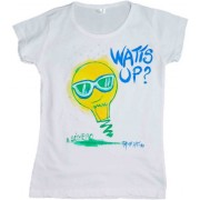 Tricou fete pictat manual, 6-7 ani, Watts Up