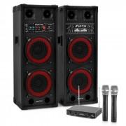 "Electronic-Star Sistema de karaoke ""STAR-Köpenick"" Altavoces PA 800W Set de micrófonos inalámbricos VHF de 2 canales (PL-6525-2233)"