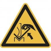 Warnkennzeichen Warnung vor Quetschgefahr der Hand, VE 10 Stk zwischen Presse und Werkstück, Kunststoff, Schenkellänge 200 mm