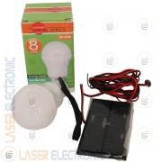 Kit Energia Lampadina a Led Ricaricabile con Pannello Solare 0.8W