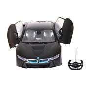 Toyhouse Officially Licensed Rastar BMW i8 1:14 Scale Model Car w Remote Door Opening, Black
