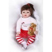 NPKDOLL Reborn Baby Doll Soft Simulation Silicone Vinyl 22inch 55cm Lifelike Vivid Boy Girl Toy Red Santa High Wig