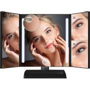 Omliox Make Up Spiegel met LED verlichting - Stijlvolle Inklapbare Spiegel - Dimbare Verlichting met Touch Knop - 2x en 3x vergroting - Inclusief USB Kabel - Zwart