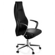 Hjh Poltrona per ufficio FREMONDO, design alta gamma in vera pelle, schienale alto, base in alluminio levigato, nero