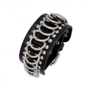 Funky Denim Wear Steel Rings 100 Genuine Black Handcrafted Leather Adjustable Wrist Band Strap Biker Bracelet Boys Men