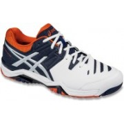 Asics Gel-Challenger 10 Men Tennis Shoes For Men(White, Navy, Orange)
