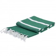 Emako Obdélný ručník hammam, lahvově zelená s bílými pruhy 150x90 cm