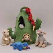 Plush Cactus Desert Animal House with Animals - Six (6) Stuffed Desert Animals (Snake, Lizard, Armad