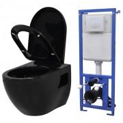 vidaXL falra szerelhető fekete kerámia WC rejtett öblítőtartállyal