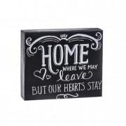 Tábla Home felirattal fa 17.7x15x4cm fekete