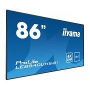 iiyama 86' 3840 x 2160, 4K UHD IPS panel, Full Metal Housing, Fan-less, Speakers, Multiple In-/Outputs (VGA, DisplayPort, HDMI(4x) and more), 410 cd/m², 1200:1 Static Contrast, 8 ms, Landscape mode, M