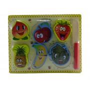 Puzzle din lemn cu fructe de taiat, varsta 18 luni+, multicolor, coordonare mana- ochi