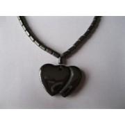 Colar de pedra Ematita c/2 Corações