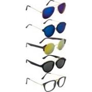 NuVew Aviator, Oval, Rectangular, Round Sunglasses(Clear, Grey, Blue, Golden, Blue)