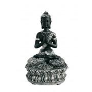 Tibetaanse Meditatie Boeddha Dieren Urn Zwart- Zilver (1.5 liter)