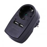 ADATTATORE CARICABATTERIA 2 USB 5V 2A SCHUKO NERO VT-1044-LED8796