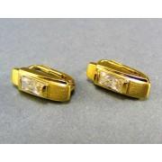 Zlaté náušnice žlté zlato podlhovastý kamienok VA313