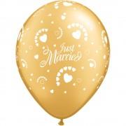 "Baloane latex 11"" inscriptionate Just Married Hearts-A-Round Gold, Qualatex 88439"