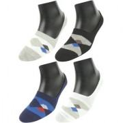 Neska Moda Premium 4 Pair Unisex Striped Anti Byte Cotton No Show Loafer Grip Socks White Black Blue Grey S221