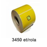 Role de etichete semilucioase galbene 80x40mm, 3450 et./rola