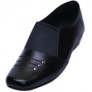 VIREN Women's Black Faux Leather Stylish Office Wear Formal Slip-On Shoes (4-9 UK)