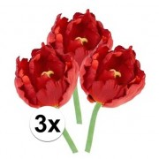 Bellatio flowers & plants 3x Rode tulp deluxe Kunstbloemen 25 cm