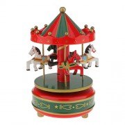 Segolike Merry Go Round Music Box w/ Steepletop Christmas Kid Birthday Present Carousel Musical Box Toy - red and green