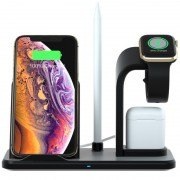 N35 Three-in-one Wireless Charger Stand for Apple Watch/iPhone/AirPods (Not Support FOD Function) - Black