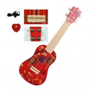 HATCHMATIC Surwish 186 Series Children Early Education Musical Instrument Guitar Ukulele with 4 Strings Support Kid Learning Kit: Red