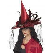Palarie halloween vrajitoare cu pene si plasa rosie