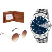 Rich Club Round Sunglass, Analog Watch, Wallet Combo(Black, Brown)