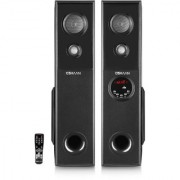 Oshaan Mini Tower Multimedia Speaker System with inbuilt woofer Leaded mic provision and Bluetooth USB Aux FM (Black)