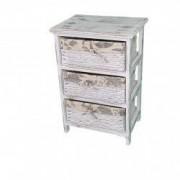 Comoda din lemn usor alb/gri trei sertare tip cos 62x40x30 cm 2-19