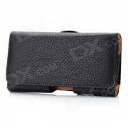 PU008 patron de lychee protector de PU tapa abierta caja de la PU w ??/ back clip para nokia lumia 820 - negro