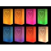 Candle bags set hartjes gekleurd 20x stuks - Tuin kaarsen verlichting - Sfeer lampjes
