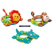 Big Intex Animal Pool Toys Inflatable Swim Ring Tube Easter Basket Stuffer Gift Toy for Kids Boys Girls SET OF 3 RINGS with HAPPY Slapstick
