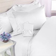 Elegant Comfort Juego de sábanas de Lujosa Calidad egipcia de 1500 Hilos, Antiarrugas, 4 Piezas, California King, Color Blanco